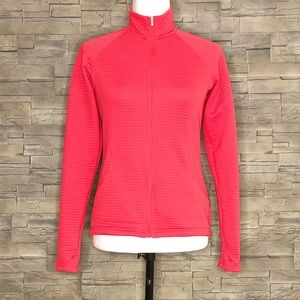 Adidas coral-red ribbed zip-up sweater